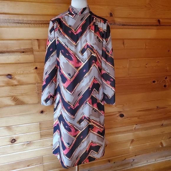 Vintage Dresses & Skirts - 1970s ILGWU Multi-Color Polyester Dress